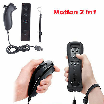 Wiimote 2IN1Built in Motion Plus Inside Remote + Nunchuck Controller 4 Wii black