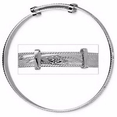 NEW Solid 925 Sterling Silver Rope Edge Engraved Expanding Baby Bracelet Bangle