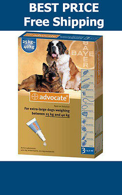 Advocate For Dogs Over 25kg Large Dogs 3 Pack Flea and Lice Treatment EXP 2019