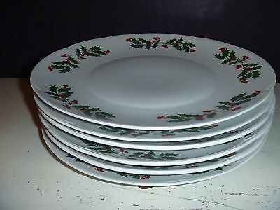 """Set of 6 Vintage 10"""" Christmas Dnnner Plates Made in Romania"""