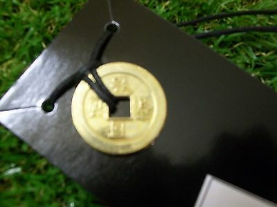 """Gold I Ching Coin on Black Cord - 'Prosperity and Protection"""""""