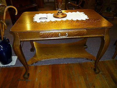antique Oak table library desk Quartersawn cast brass drawer pull Refinished USA