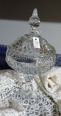 INDIANA GLASS DIAMOND CUT COMPOTE/ WITH LID
