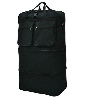 """40"""" Black Expandable Rolling Wheeled Duffle Bag Spinner Suitcase Luggage - New"""