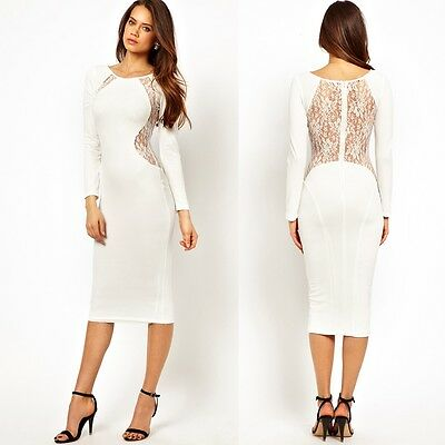 VA Women See-through Lace Open Back Bodycon Clubwear Party Cocktail Pencil Dress