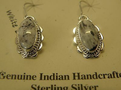 Sterling silver white buffalo earrings signed B.H.. Navajo made #2