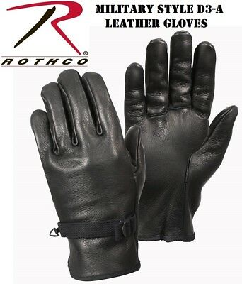 Black D-3A Gloves Military Style Leather Work Gloves Rothco 3383