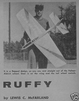 """Model Airplane Plans: RUFFY • 50"""" UC Stunt for .29-.25's + magazine article"""