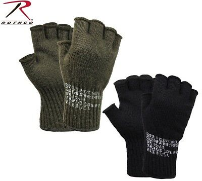OD GREEN or BLACK Military Fingerless Wool Gloves USA Made 8410 8411