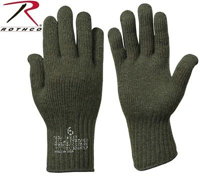 Military Issue Olive Drab Green D-3A Wool Glove Liners Made In USA Rothco 8418