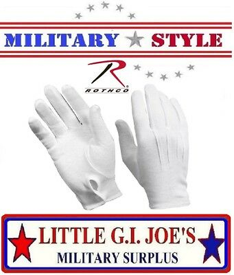 White Military Cotton Dress Gloves Band & Parade Gloves, Waiter Gloves 4410