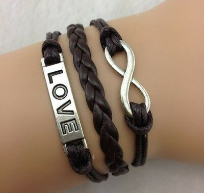 Infinity Bracelet Leather Brown Heart Love Womens Girls Charm Bangle Friendship