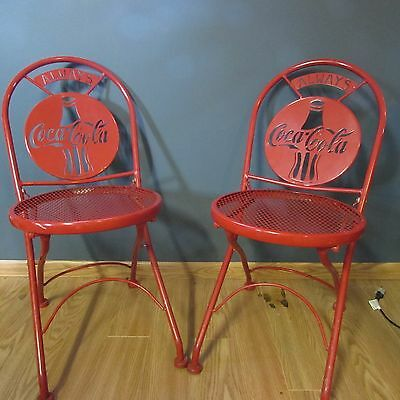 VINTAGE COCA COLA RED METAL FOLDING CHAIRS