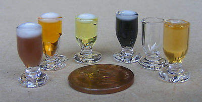 Dolls House Miniature Drink Glass With Beer, Cider, Stour, Milk, Lager Or Empty