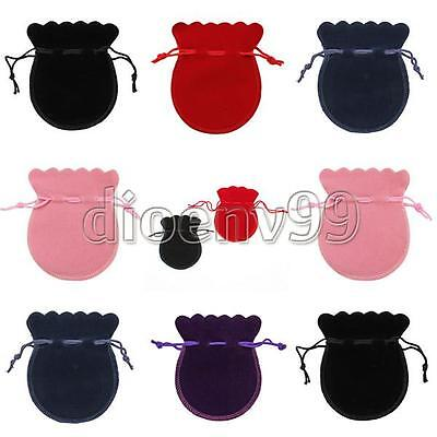 100Pcs Oval Velvet Drawstring Jewellry Pouches Necklace Earrings Ring Gift Bag