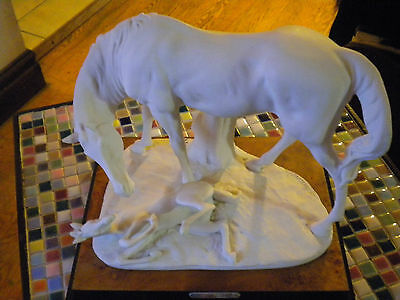 Armani White Horse Mare and Foal Figurine on base