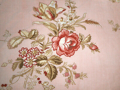 Antique French Roses Berries Cotton Fabric ~Blush Rose Sage Burnt Red Taupe  #2