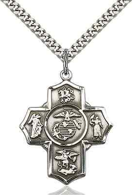 St. Michael Cross Marine Corps Sterling Silver with Chain and Gift Boxed