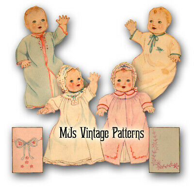 "Vintage Baby Doll Clothes Pattern ~ 10"" 11"" for Compo Bubbles Babykins Patsykins"