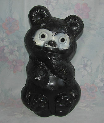 """Vintage Plastic Bear Cub Bank - Baby Black Bear - Reliable Made in Canada - 11"""""""