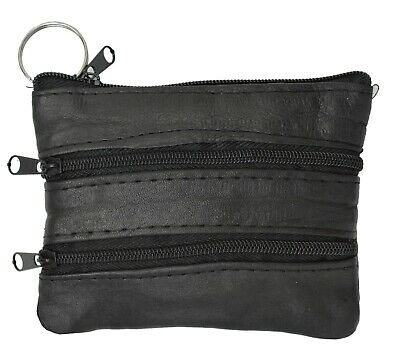 Black Leather Coin Purse / Mini Wallet / Key Pouch - 3 Zippered Sections