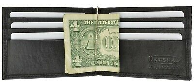 New Men's Genuine Leather Bifold Black Money Clip Wallet ID Credit Card Holder.