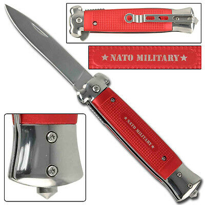 Striker Tactical Covert Military Drop Point Spring Folding Knife NATO Red
