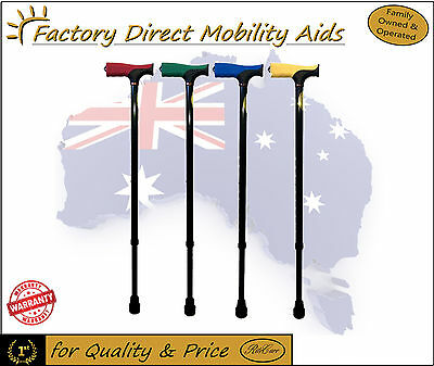 Walking Stick / Soft rubber coloured Grip Handle Adjustable Height New