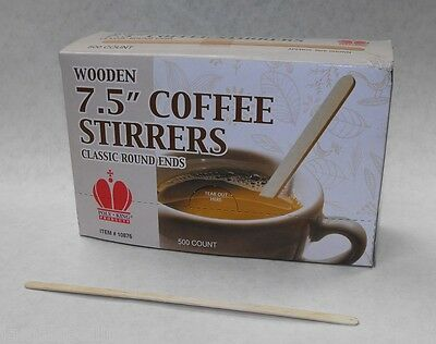 """500 ct Wooden 7.5"""" Round End Classic COFFEE STIRRERS Dispenser Box FREE SHIP"""