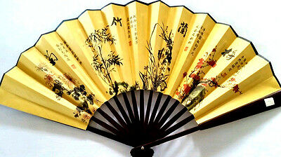 Oriental Silk/Bamboo Hand Fan with Chinese Painting and Calligraphy (No.9)