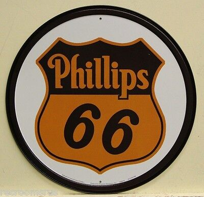 "Phillips 66 motor oil and gasoline 12"" metal sign  gas auto service badge logo"