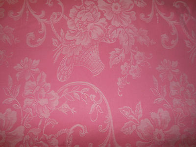 Antique Vintage French Cottage Pink Roses Basket Cotton Damask Ticking Fabric ~