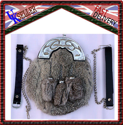 Full Dress Sporran Grey Rabbit Fur & Chrome Celtic Cantle 3 Grey Tassels