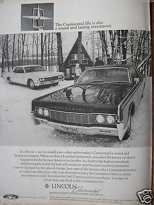 "1967 Lincoln Continental Ad-8.5 x 10.5 ""-The Continental Life-Original Print Ad"
