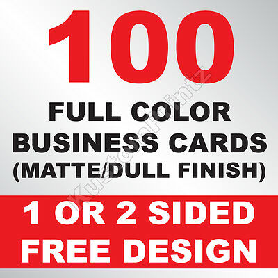 100 Custom Full Color Business Cards | 16Pt | Matte Dull Finish | Free Design