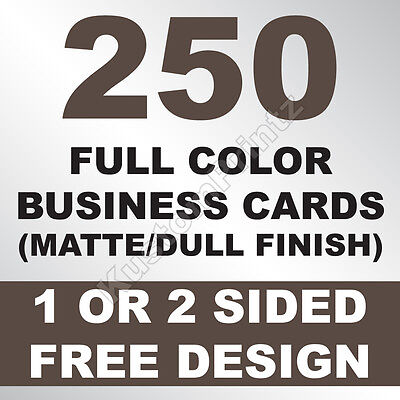 250 Custom Full Color Business Cards | 16Pt | Matte Dull Finish | Free Design