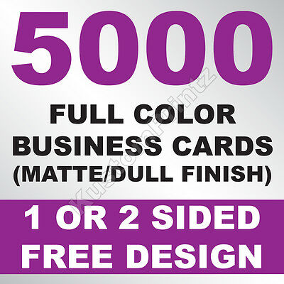 5000 Custom Full Color Business Cards | 16Pt | Matte Dull Finish | Free Design