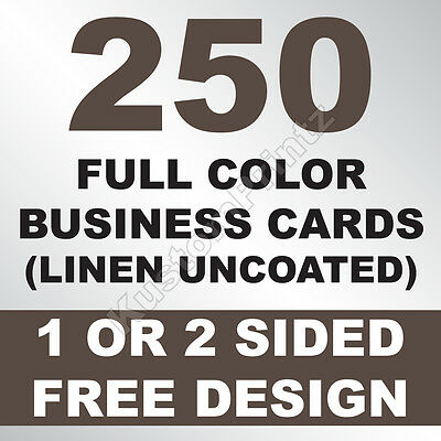 250 Custom Full Color Business Cards | 100Lb Linen Uncoated | Free Design