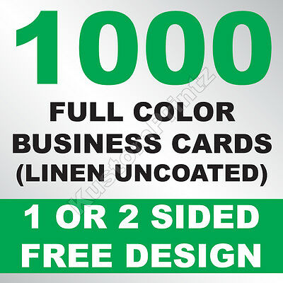 1000 Custom Full Color Business Cards | 100Lb Linen Uncoated | Free Design