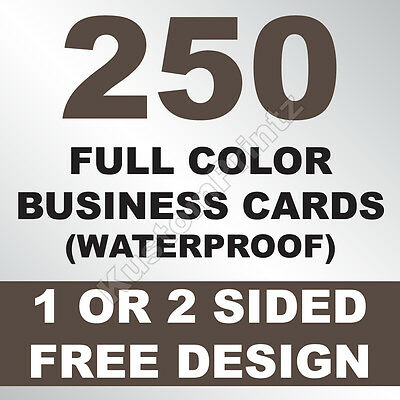 250 Custom Full Color Business Cards | 10Pt Waterproof Stock | Free Design