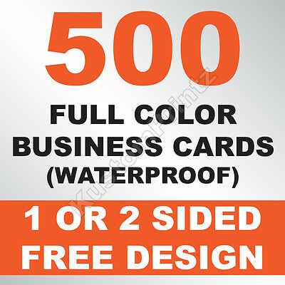 500 Custom Full Color Business Cards | 10Pt Waterproof Stock | Free Design