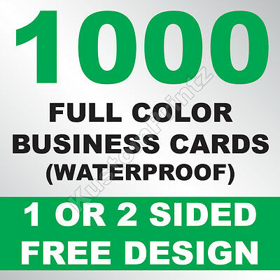 1000 Custom Full Color Business Cards | 10Pt Waterproof Stock | Free Design