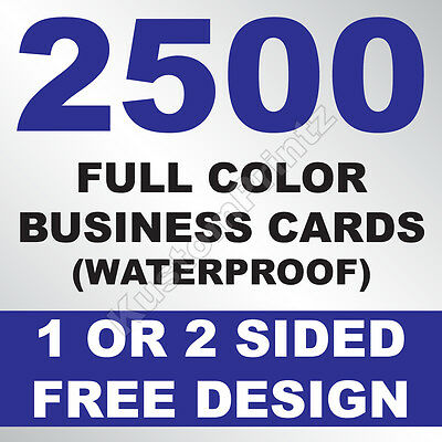 2500 Custom Full Color Business Cards | 10Pt Waterproof Stock | Free Design