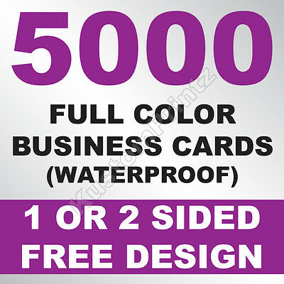 5000 Custom Full Color Business Cards | 10Pt Waterproof Stock | Free Design
