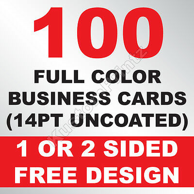 100 Custom Full Color Business Cards | 14Pt Uncoated | Free Design