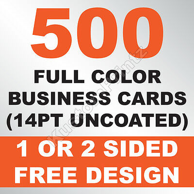 500 Custom Full Color Business Cards | 14Pt Uncoated | Free Design
