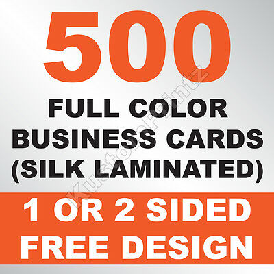 500 Custom Full Color Business Cards | 16Pt Silk Laminated Finish | Free Design