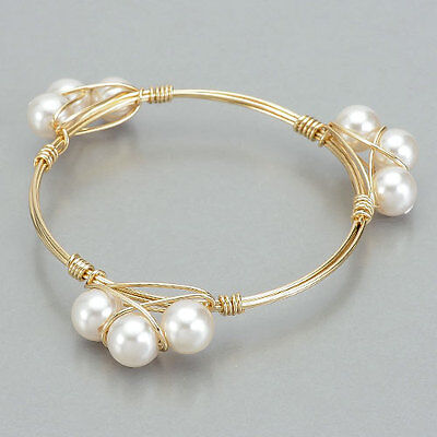 Gold Wire Wrapped Bourbon Bowtie Inspired White Pearl Bangle Bracelet