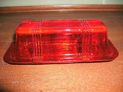 Red Glass Butter Dish for Quarters