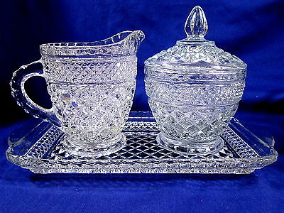 Wexford Creamer Sugar Bowl Lid Underplate Tray Plate Anchor Hocking Diamond